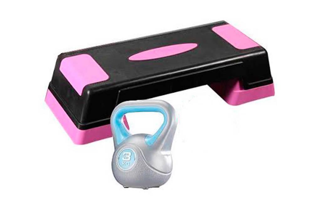 Gymstick  kettlebell + stepbank + gratis springtouw, Zwart/roze