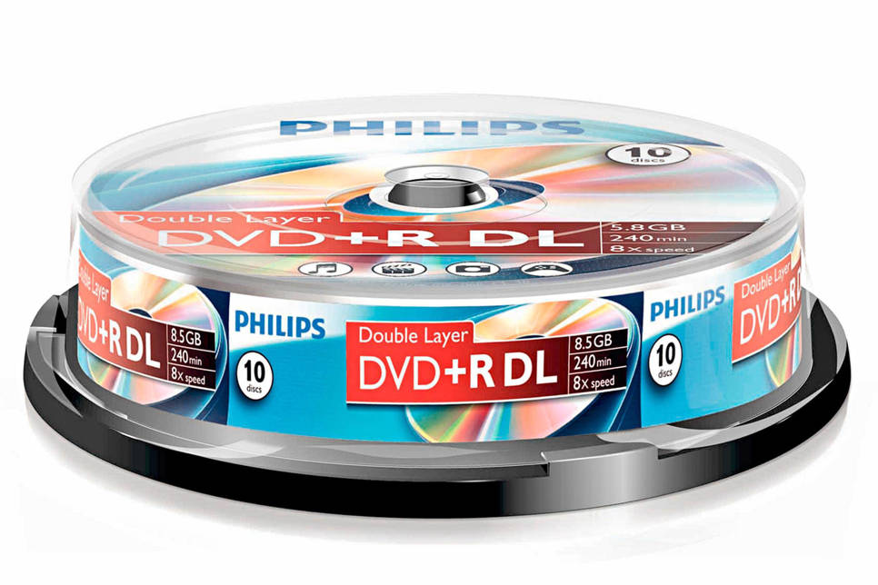 Philips DVD+R double layer Cakebox 10 (8,5 GB) recordable DVD, Transparant