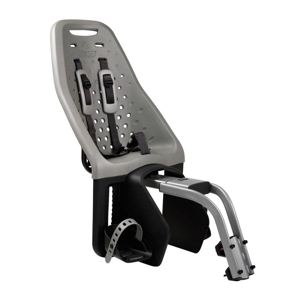 Yepp Maxi zadelbuis fietsstoeltje achter zilver, Zilver