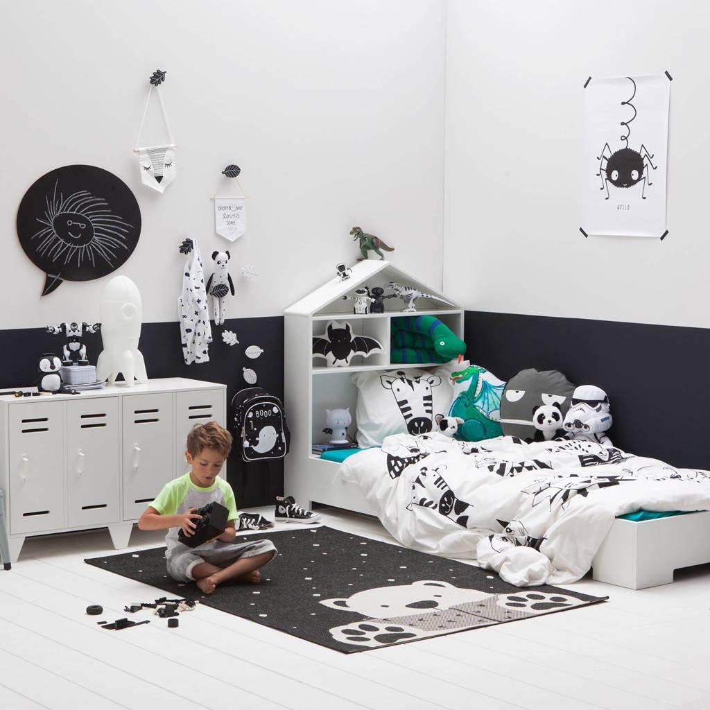 whkmp's own beasty katoenen kinderdekbedovertrek, Zwart/wit, 1 persoons (140 cm breed)
