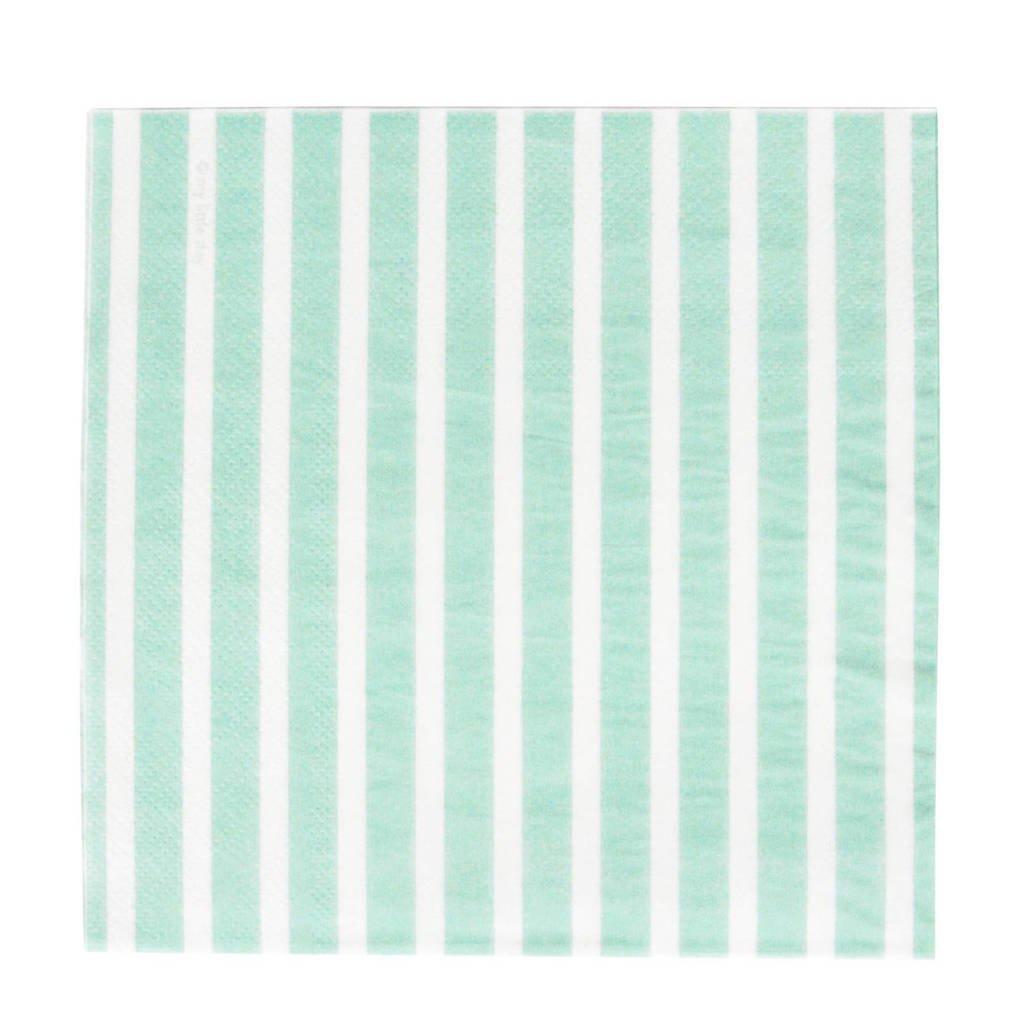 My Little Day papieren servetten (set van 20), Blauw/wit