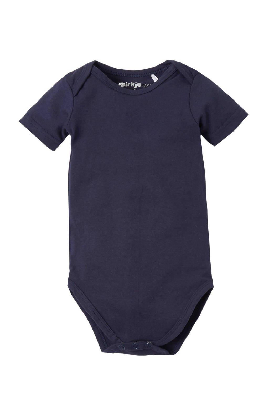 Dirkje newborn baby romper, Donkerblauw, Kort