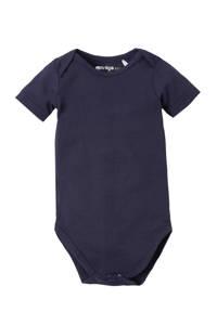 Dirkje newborn baby romper, Donkerblauw, Korte mouw