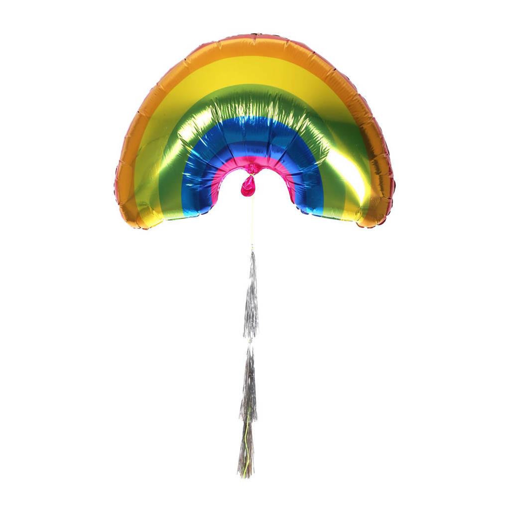 Meri Meri folieballon regenboog XL, Geel/oranje/groen/blauw