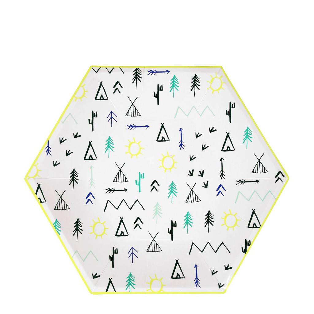 Meri Meri papieren borden (24,5x24,5 cm) (set van 12), wit/zwart/neon geel