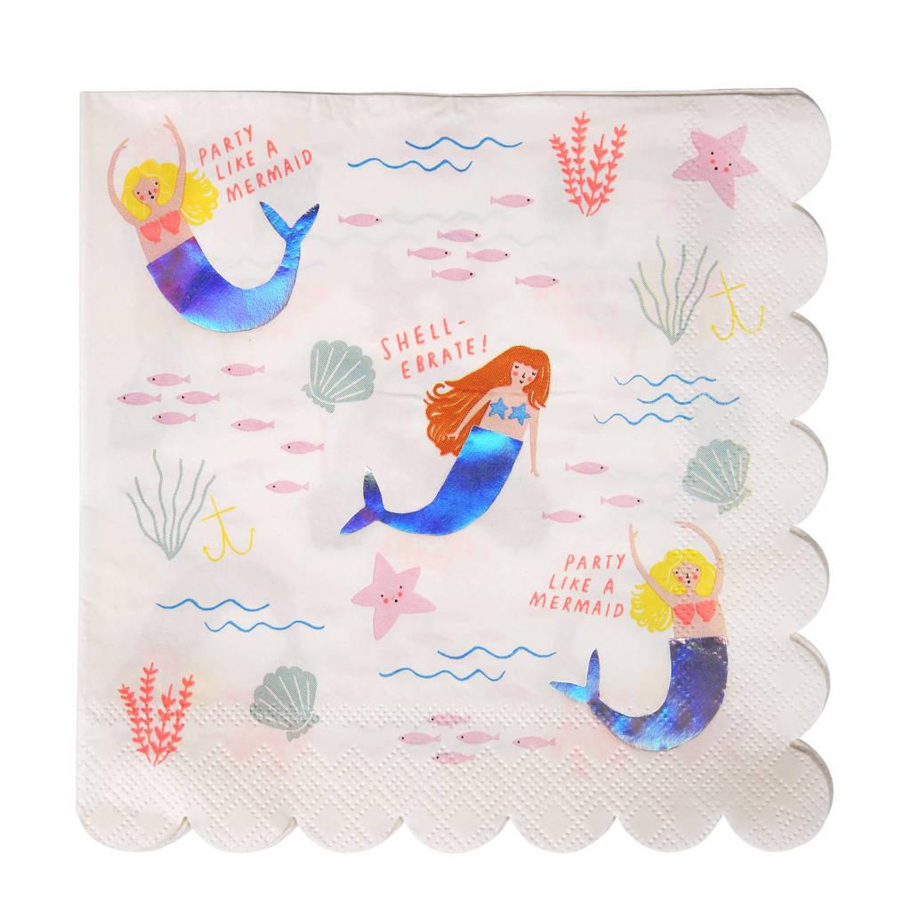 Meri Meri papieren servetten (set van 16), Wit/blauw/roze
