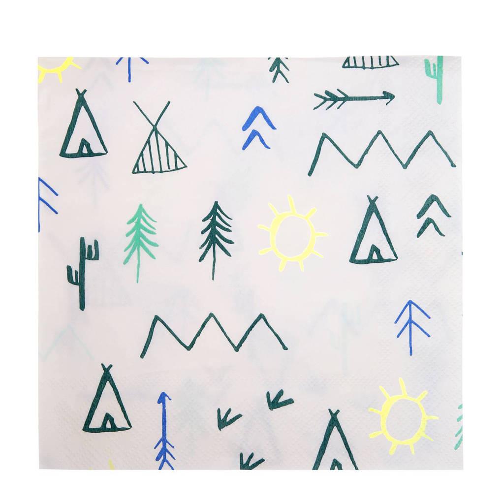 Meri Meri papieren servetten (set van 20), Wit/groen/blauw