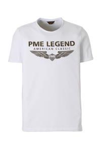PME Legend T-shirt met logo wit, Wit/groen