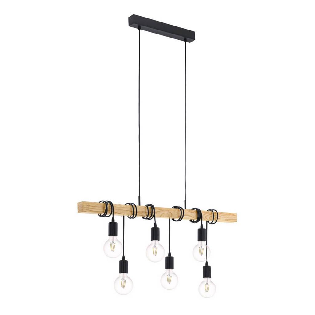 Eglo hanglamp (6 lichts), Zwart/eiken
