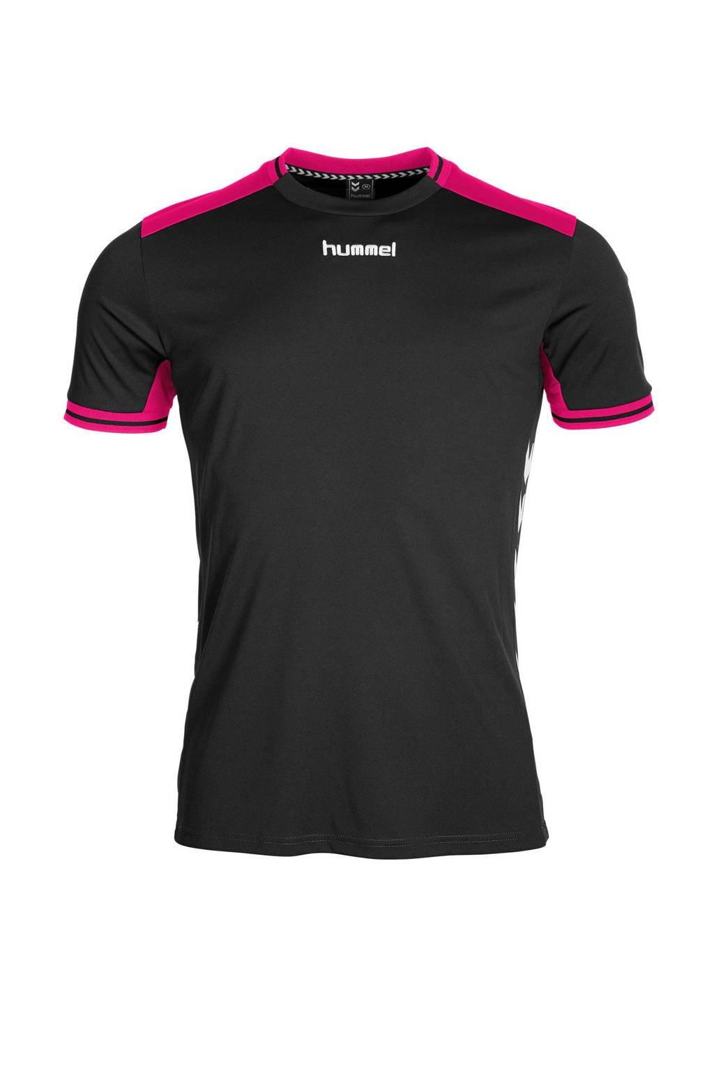 hummel   sport T-shirt zwart/roze, Zwart/roze