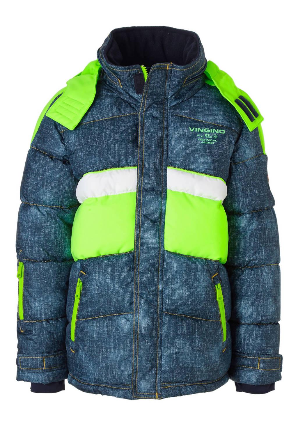 8c9fb1afa0d Vingino ski-jack, Blauw/neon groen/wit