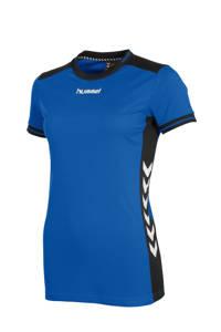 hummel sport T-shirt, Blauw/zwart