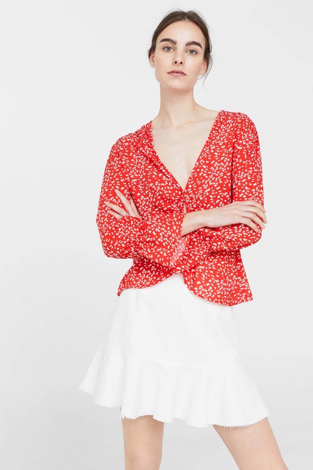Mango blouse, Rood/wit