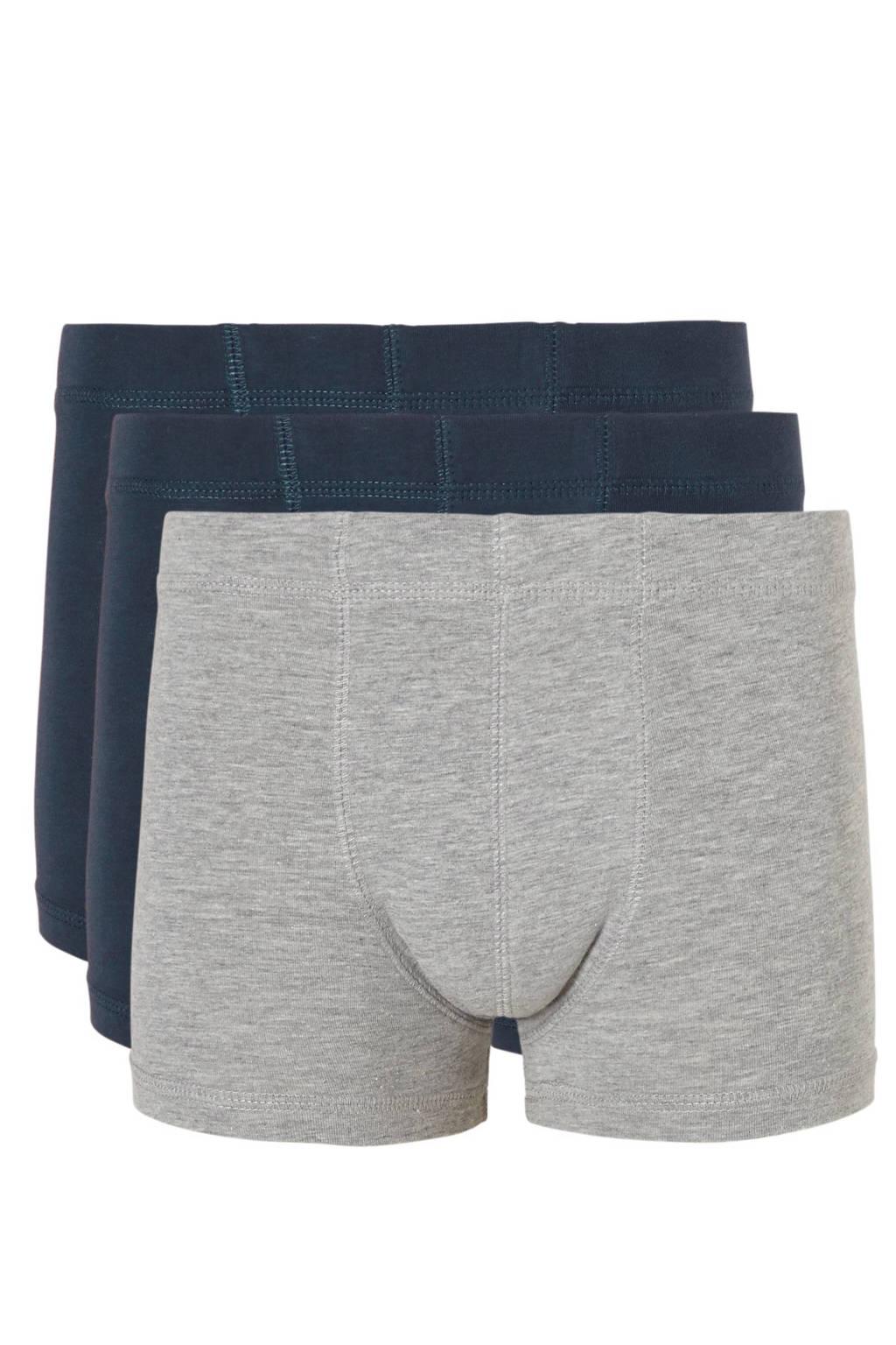 name it KIDS   boxers (set van 3), Grijs melange/donkerblauw
