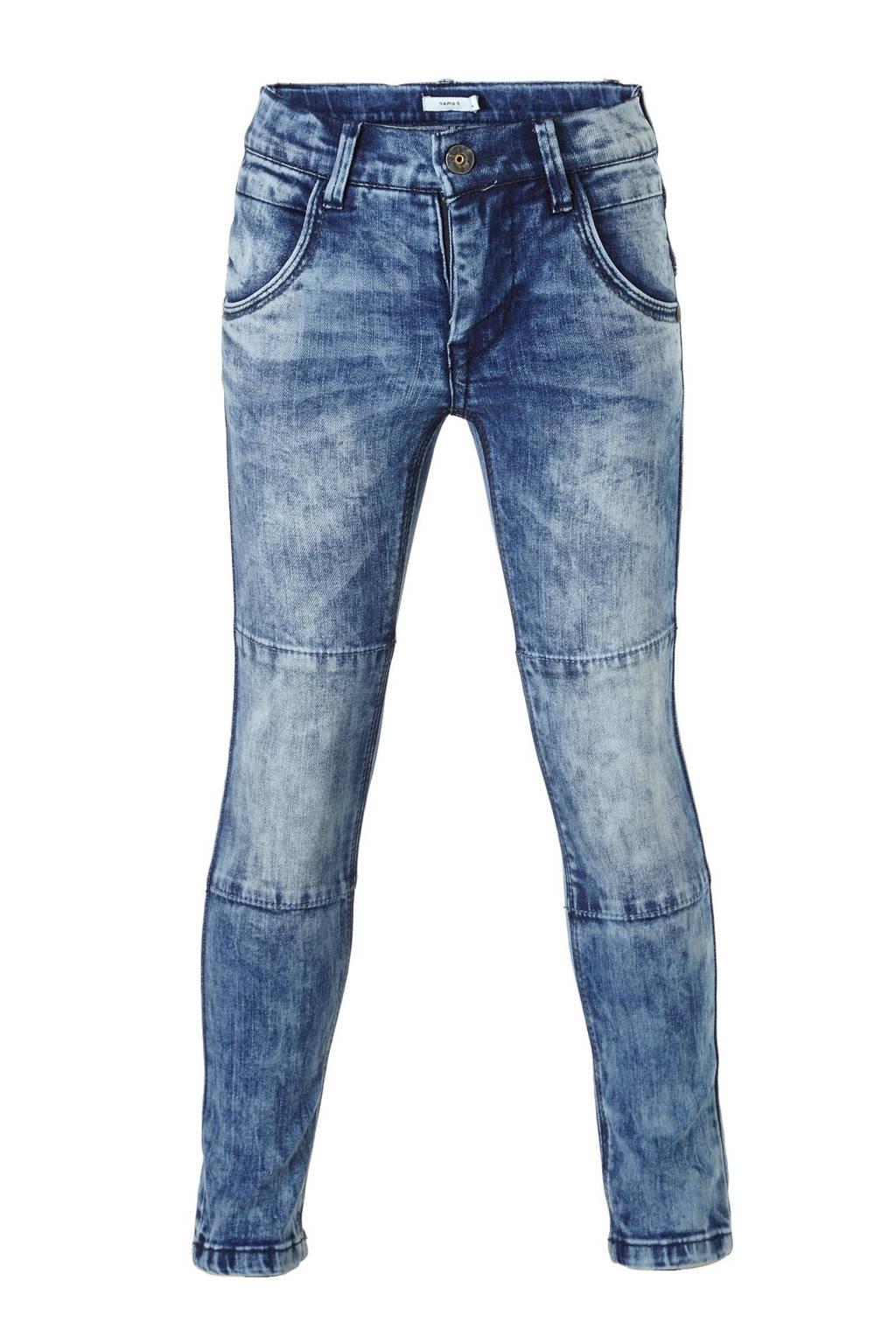 name it KIDS Nittimbo slim fit  jeans met extra kniestukken, Medium blue denim