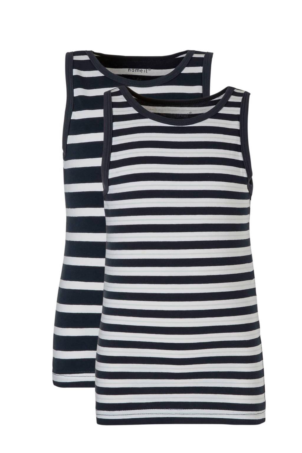 name it MINI hemd (set van 2), Donkerblauw/wit