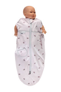 Puckababy The Original Mini baby inbakerdoek 3-6 mnd pink bowy, Pink bowy