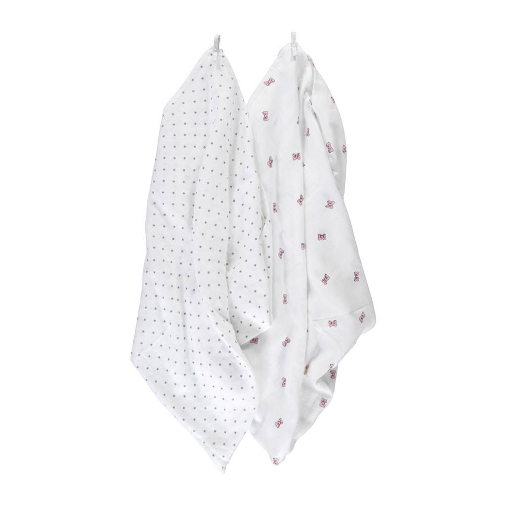 Puckababy bamboe swaddles 120x120 cm (2 stuks) dotty & bowy, Dotty & bowy