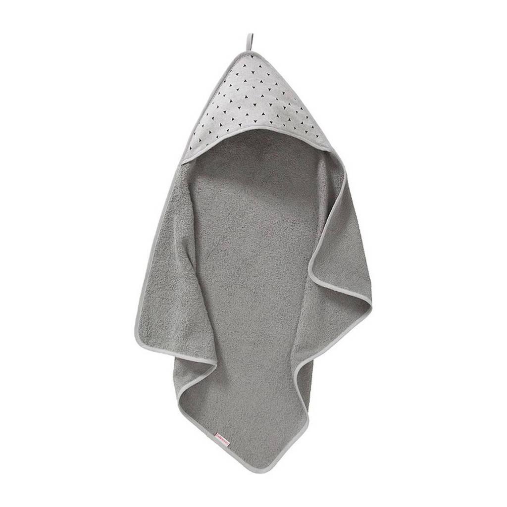 Cottonbaby Driehoek badcape 75x75 cm grijs/zwart, Grijs/zwart