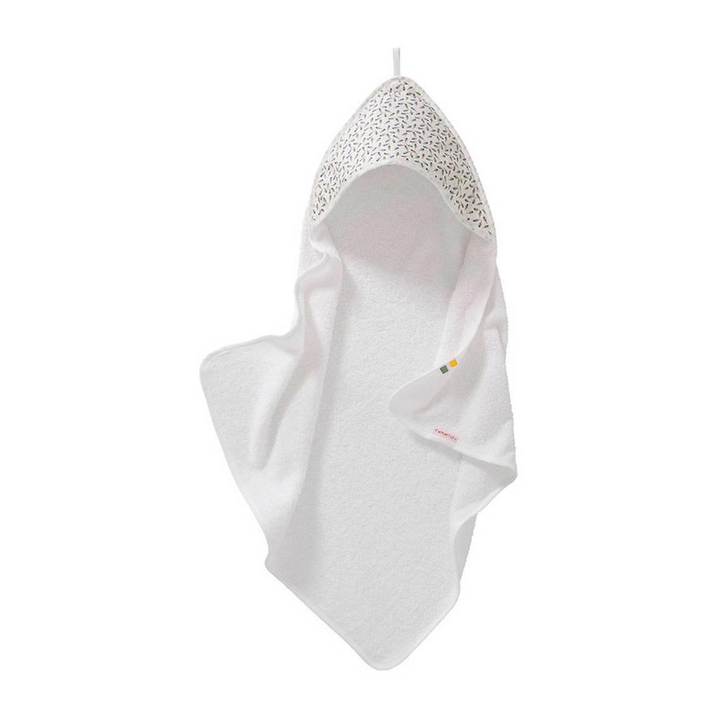 Cottonbaby Vvertjes badcape 75x75 cm wit/zwart, Wit/zwart