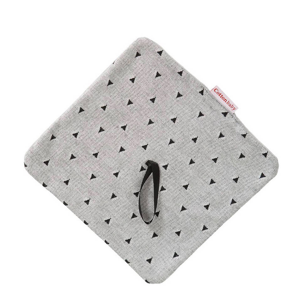 Cottonbaby driehoek speendoekje grijs/zwart, Grijs/zwart