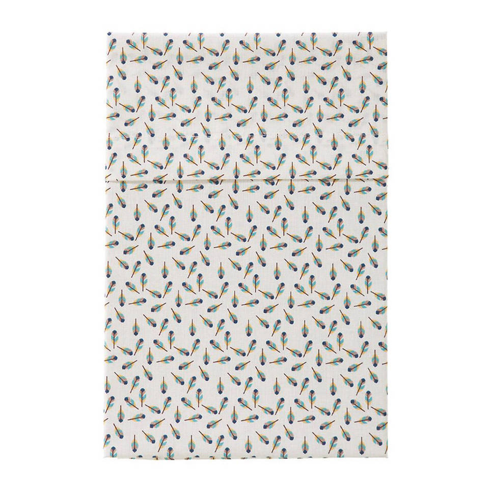 Cottonbaby veertjes ledikantlaken 120x150 cm wit/zwart, Wit/zwart