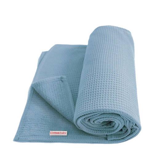 Cottonbaby wiegdeken 90x75 cm oudblauw kopen