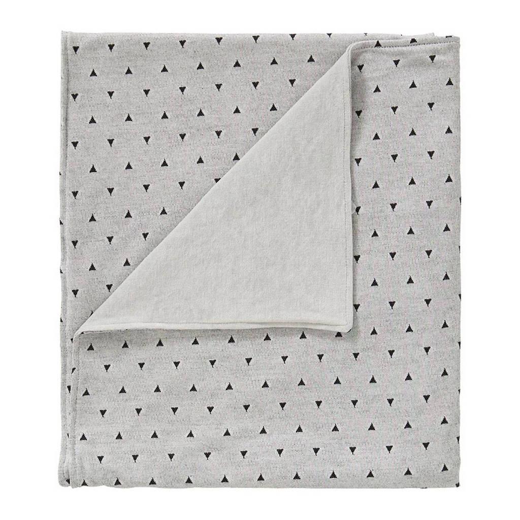 Cottonbaby driehoek wiegdeken gevoerd 75X90 cm grijs/zwart, Grijs/zwart