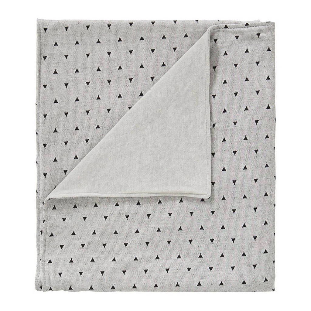 Cottonbaby driehoek ledikantdeken gevoerd 120x150 cm grijs/zwart, Grijs/zwart