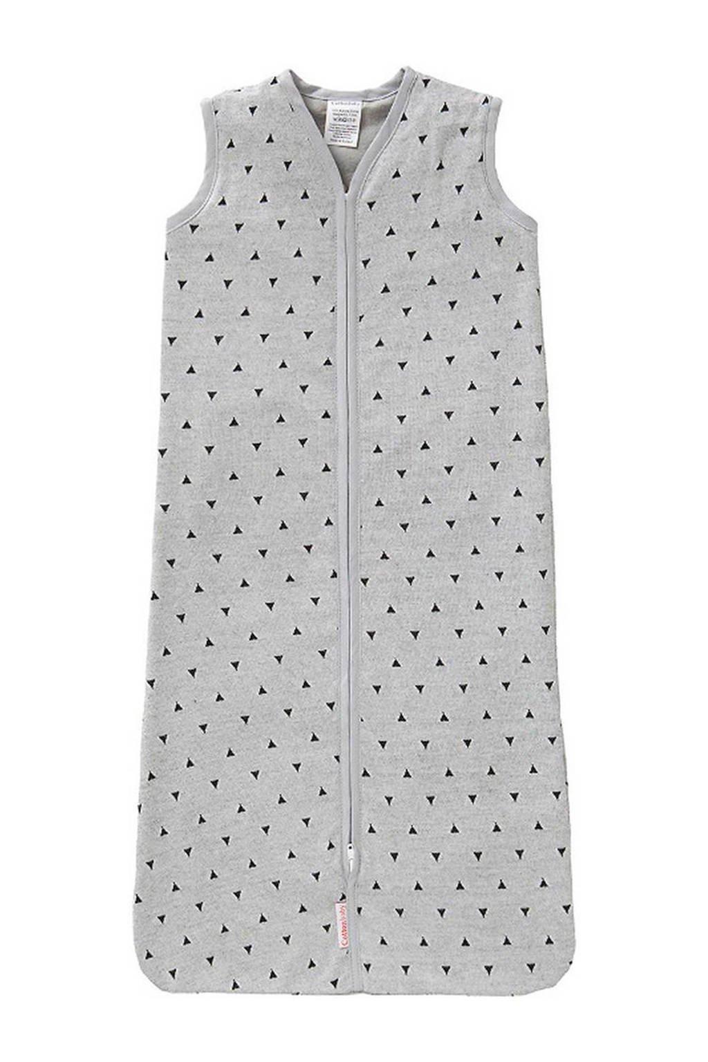 Cottonbaby driehoek baby slaapzak gevoerd 80 cm grijs/zwart, Grijs/zwart