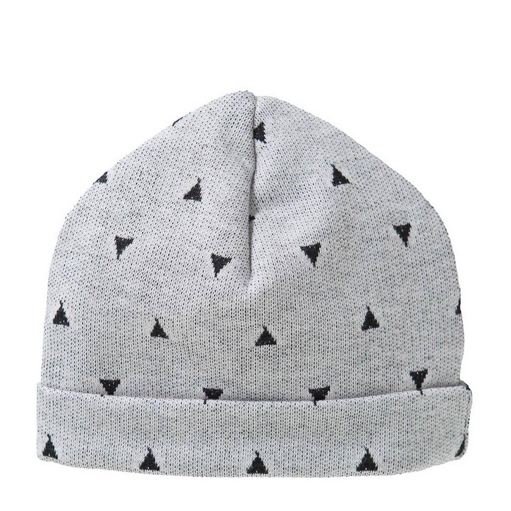 Cottonbaby driehoek babymutsje 0-3 mnd grijs, Grijs/zwart