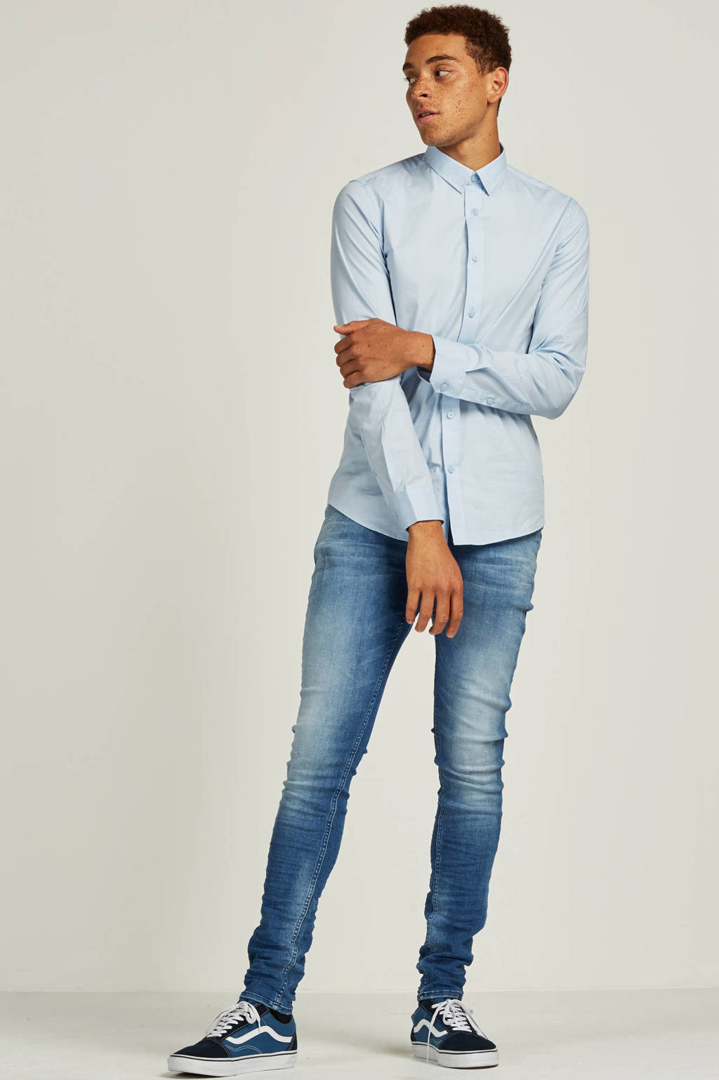 Purewhite slim fit jeans The Jone 123, Lichtblauw