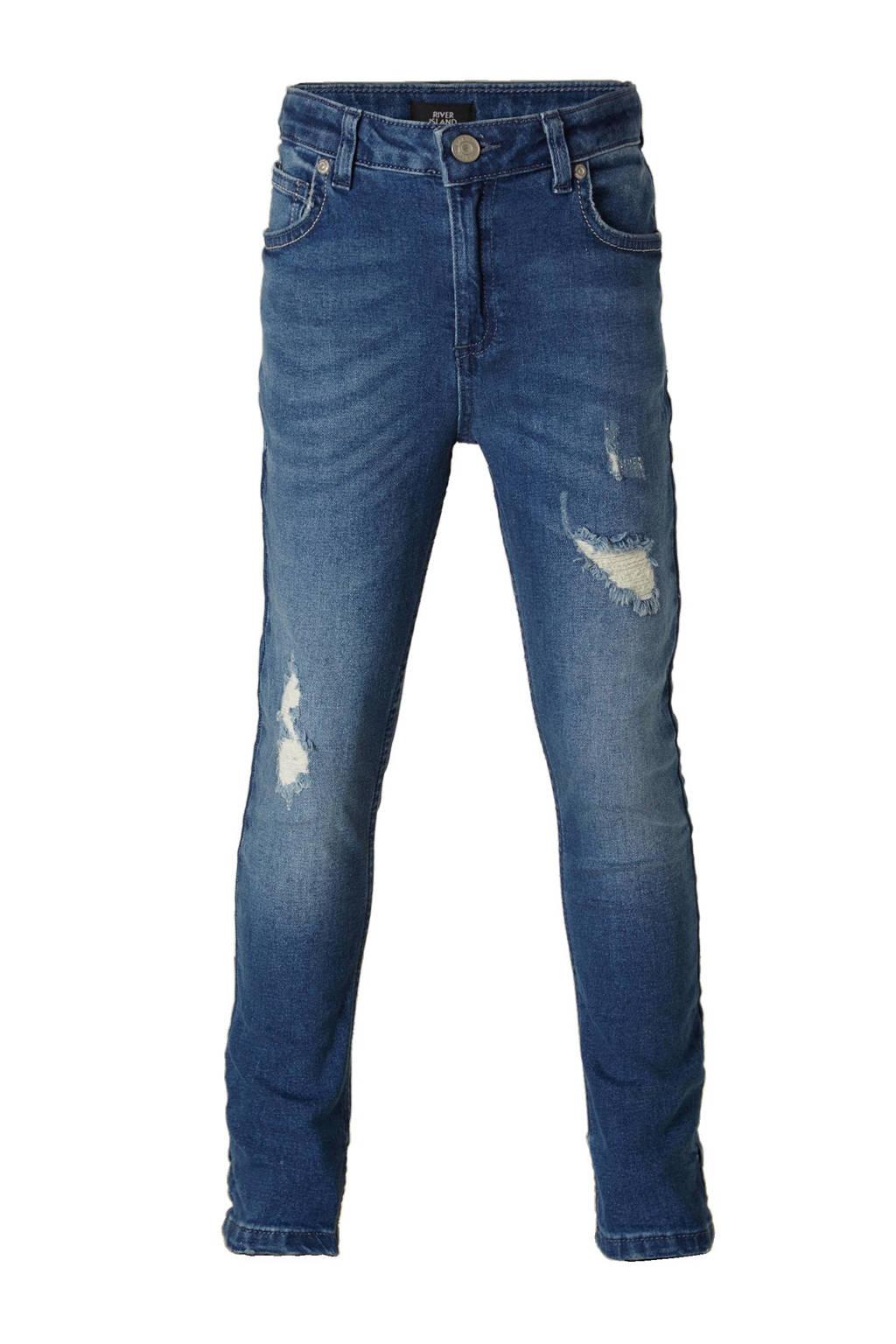 River Island skinny jeans met slijtage details, Midden blauw