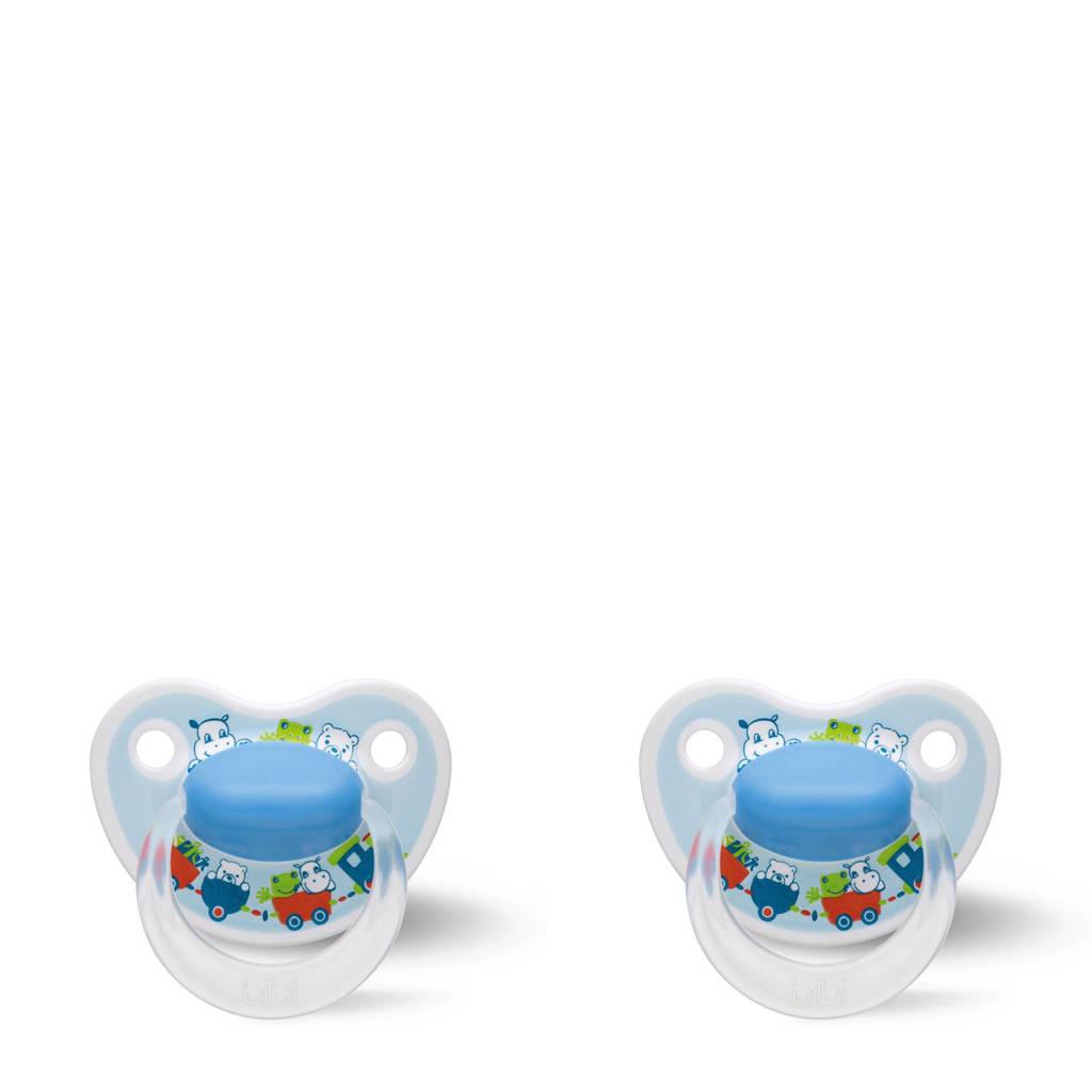 Bibi Happiness Dental fopspeen Cartoon Heroes 0-6 mnd blauw (2 stuks), Vanaf de geboorte, Blauw