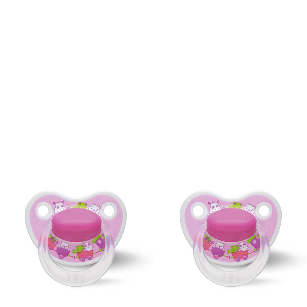 Bibi Happiness Dental fopspeen Cartoon Heroes 0-6 mnd roze (2 stuks), Vanaf de geboorte, Roze