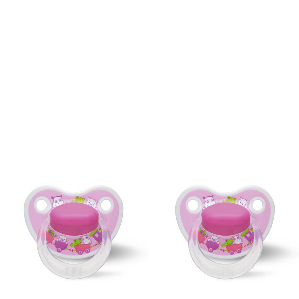 Bibi Happiness Dental fopspeen Cartoon Heroes 6-16 mnd roze (2 stuks), Vanaf 6 maanden, Roze