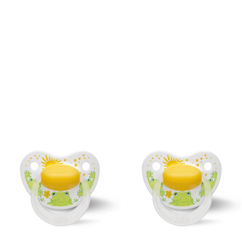 Bibi Happiness Dental fopspeen Cartoon Heroes 16+ mnd geel (2 stuks), Vanaf 16 maanden, Geel/groen
