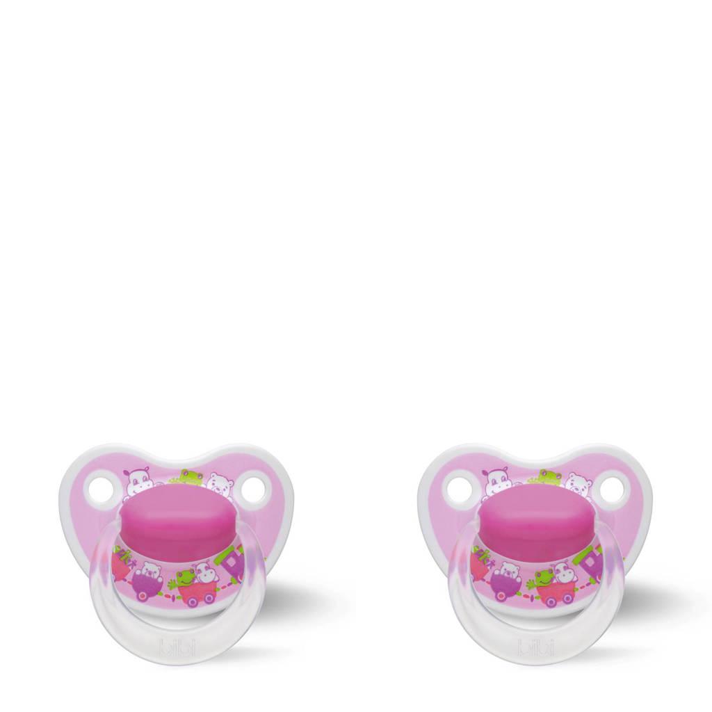 Bibi Happiness Dental fopspeen Cartoon Heroes 16+ mnd roze (2 stuks), Vanaf 16 maanden, Roze