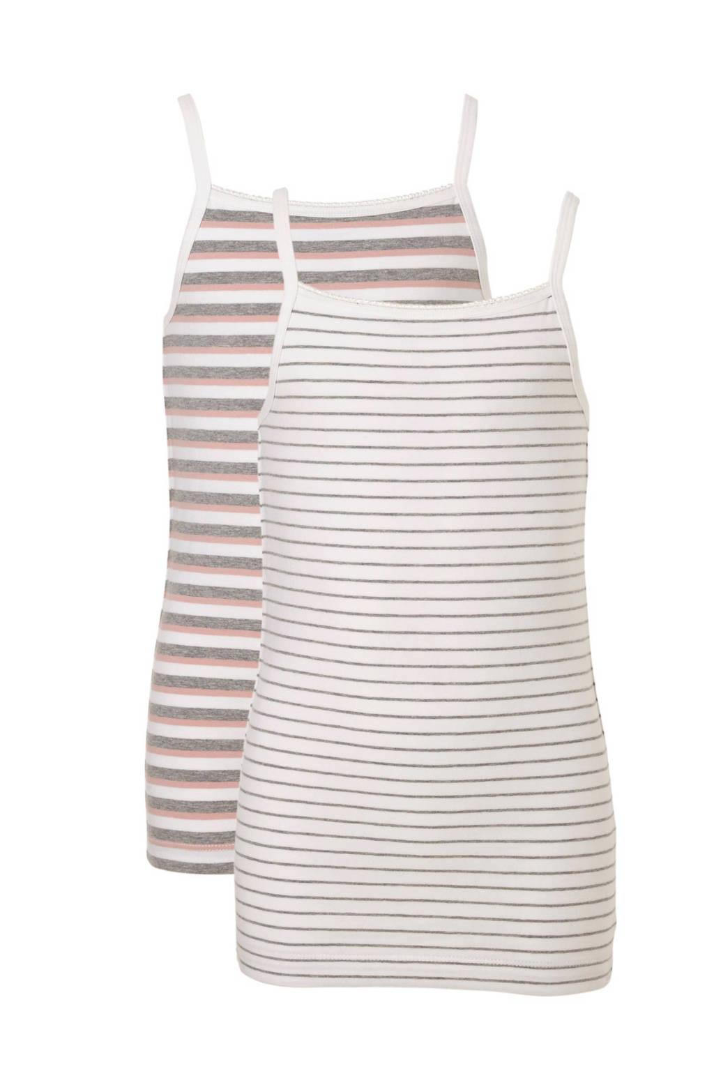 name it KIDS hemd (set van 2), Wit/roze/grijs melange