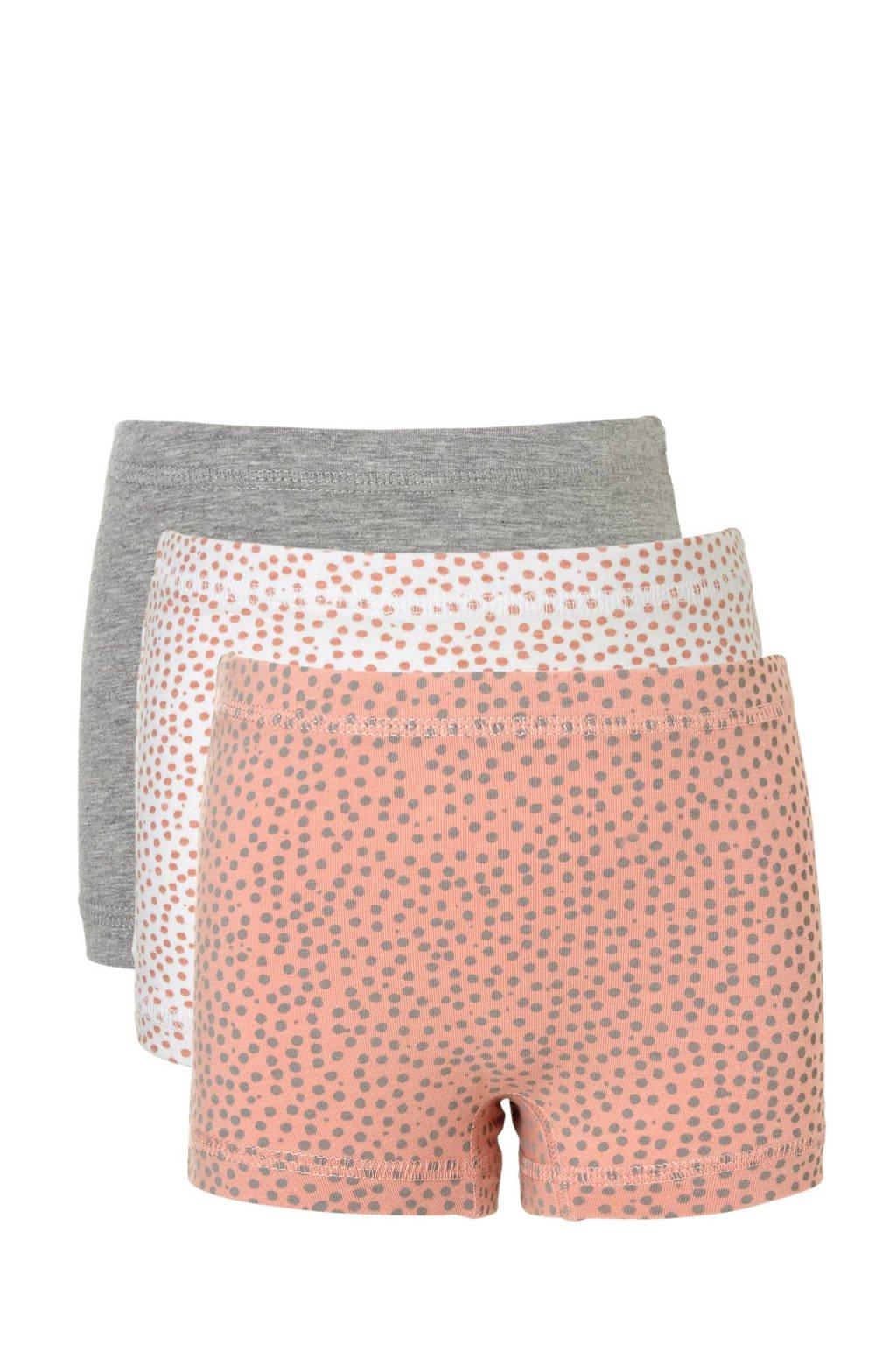 name it MINI short (set van 3), Roze/wit/grijs melange