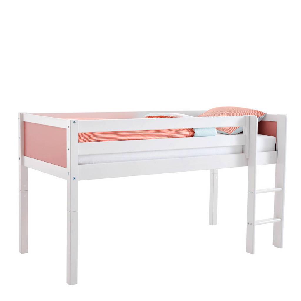 Flexworld half hoogslaper Jip (90x200 cm), Wit/roze