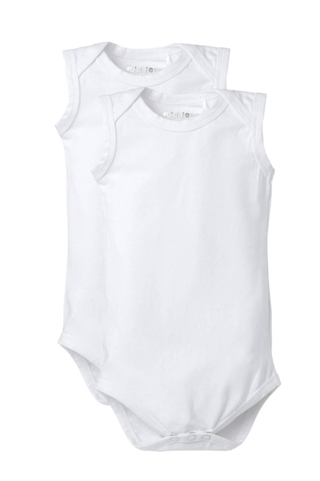 Dirkje newborn baby romper - set van 2, Wit, Mouwloos