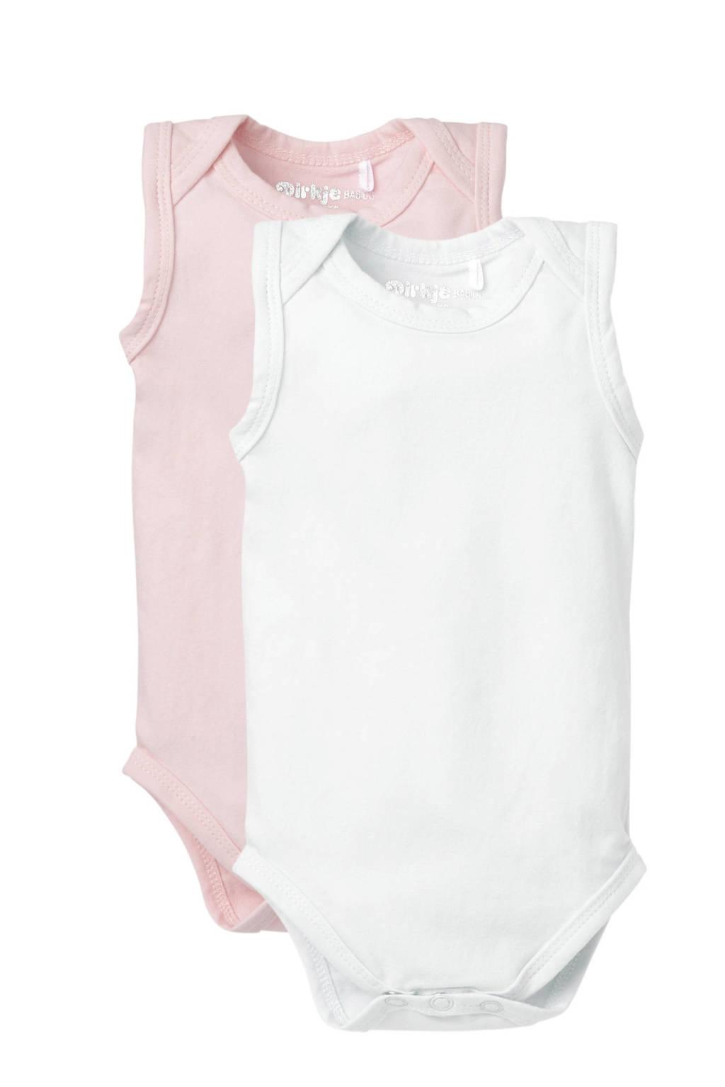 Dirkje newborn baby romper - set van 2 lichtroze/wit, Lichtroze/wit, Mouwloos