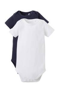 Dirkje newborn baby romper - set van 2 donkerblauw/wit, Donkerblauw/wit, Korte mouw