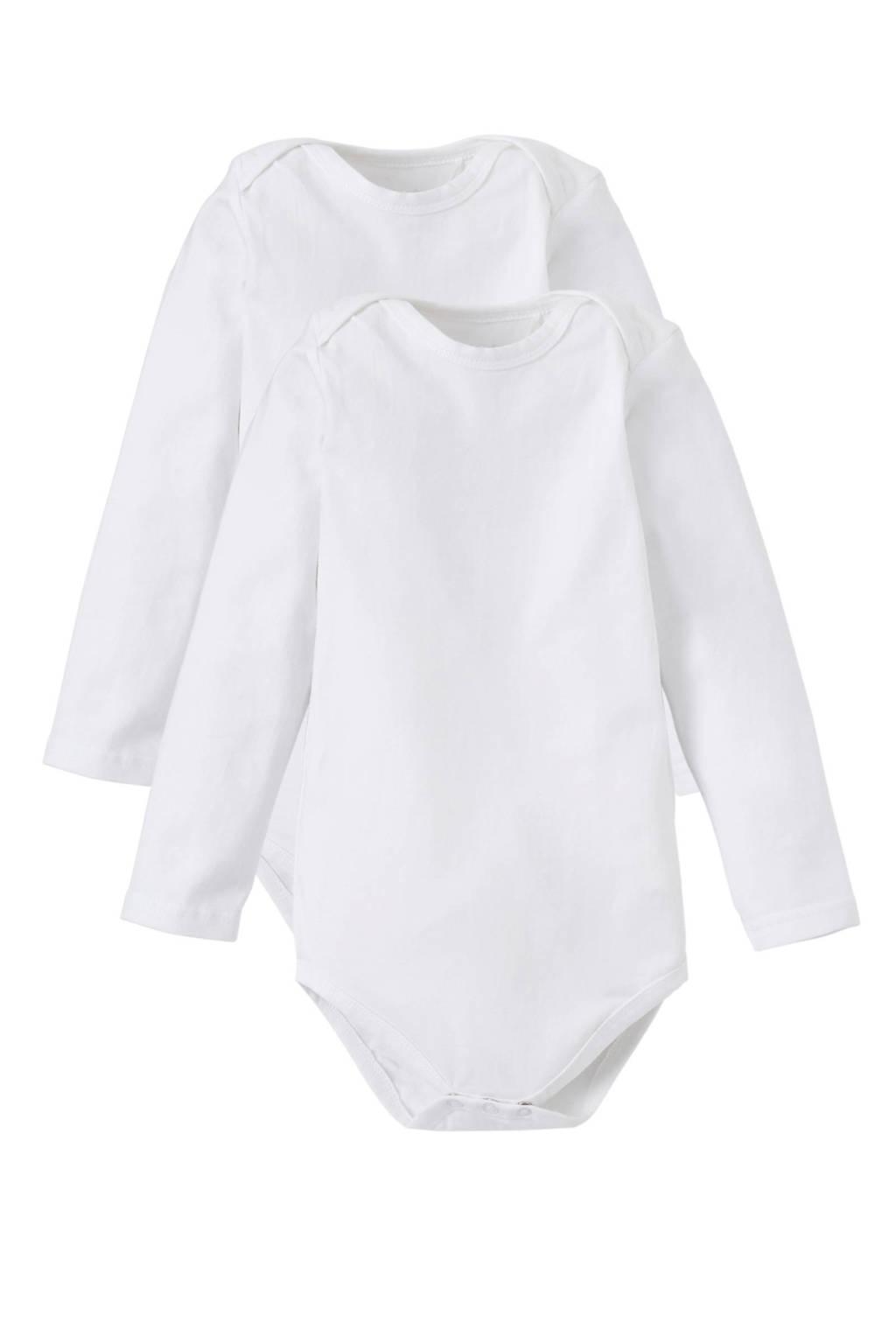 Dirkje newborn baby romper - set van 2 wit, Wit, Lange mouw