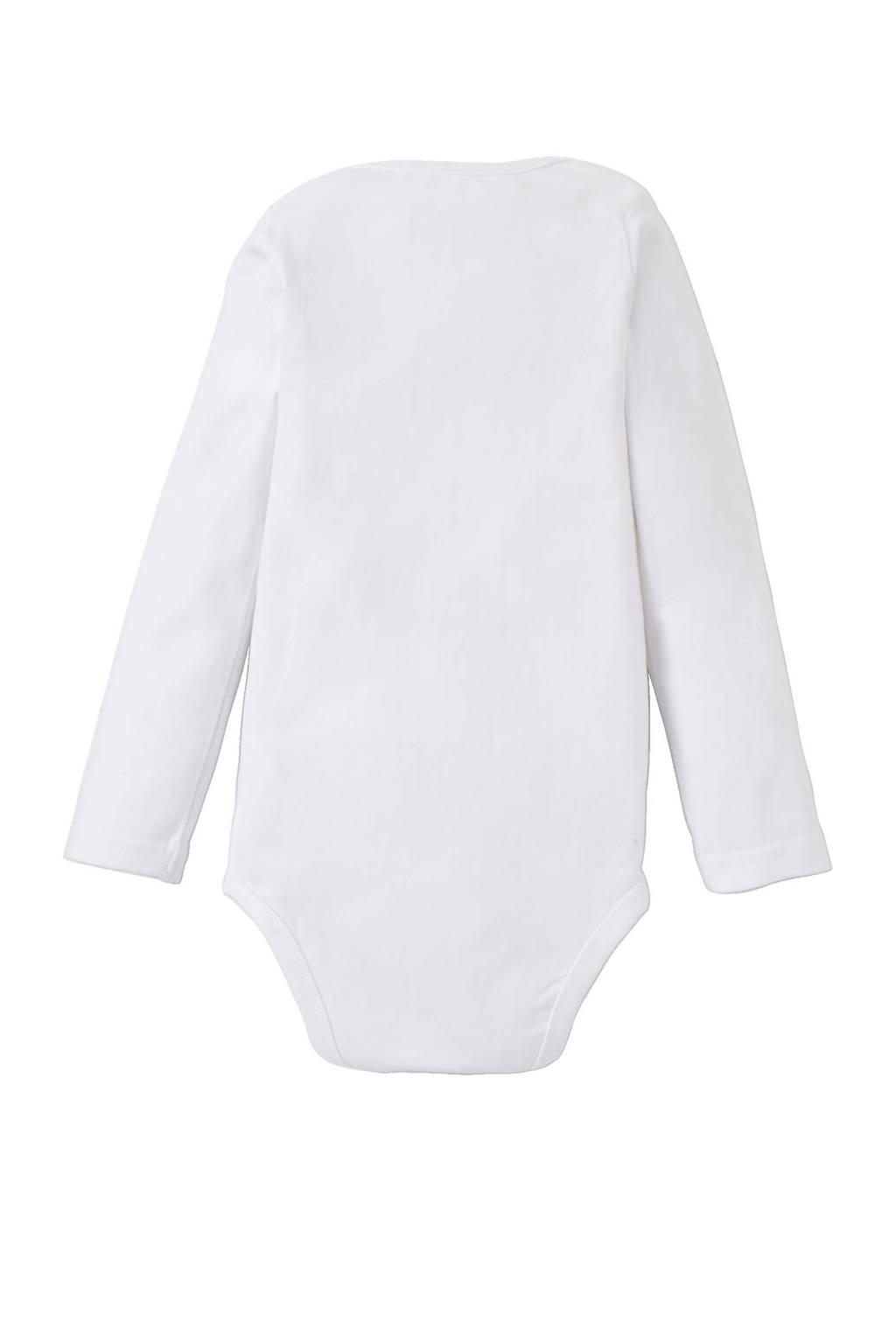 Dirkje baby romper - set van 2 wit/lichtroze, Lichtroze/wit, Lange mouw