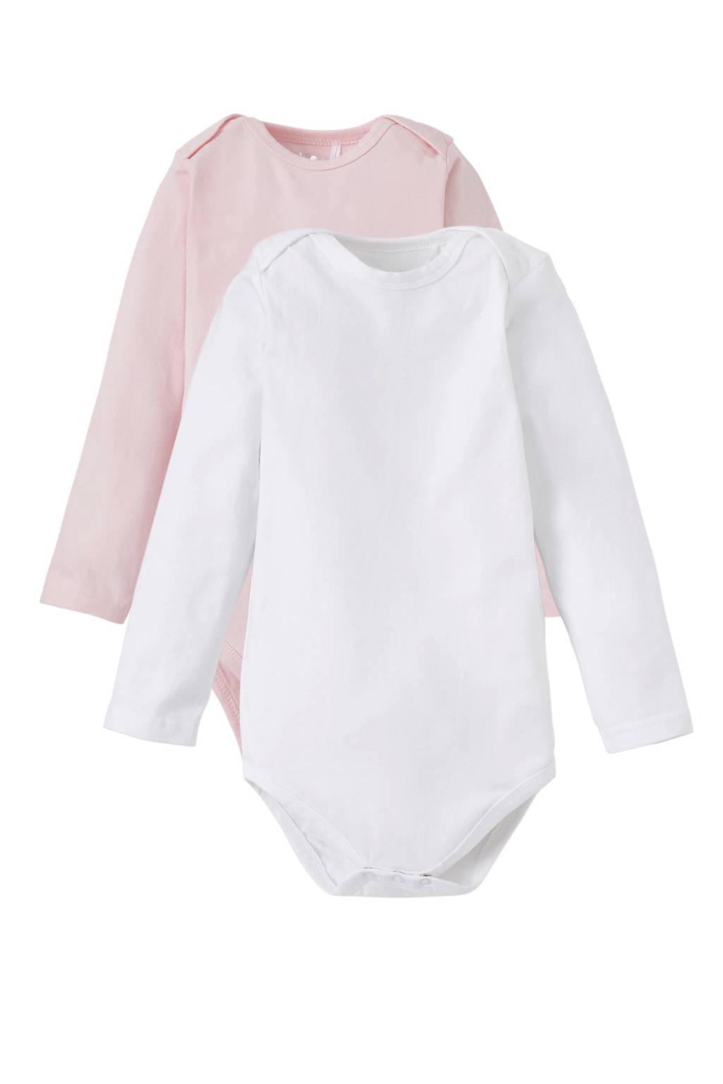 Dirkje newborn baby romper, roze / wit, Lang