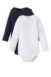 Dirkje newborn baby romper - set van 2 wit/donkerblauw, Wit/donkerblauw, Lange mouw