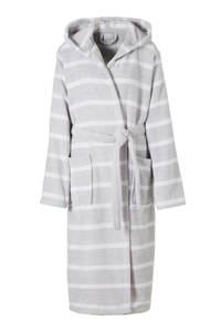 Seahorse badstof badjas met capuchon lichtgrijs/wit, Lichtgrijs/wit
