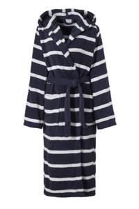 Seahorse badstof badjas met capuchon donkerblauw/wit, Donkerblauw/wit